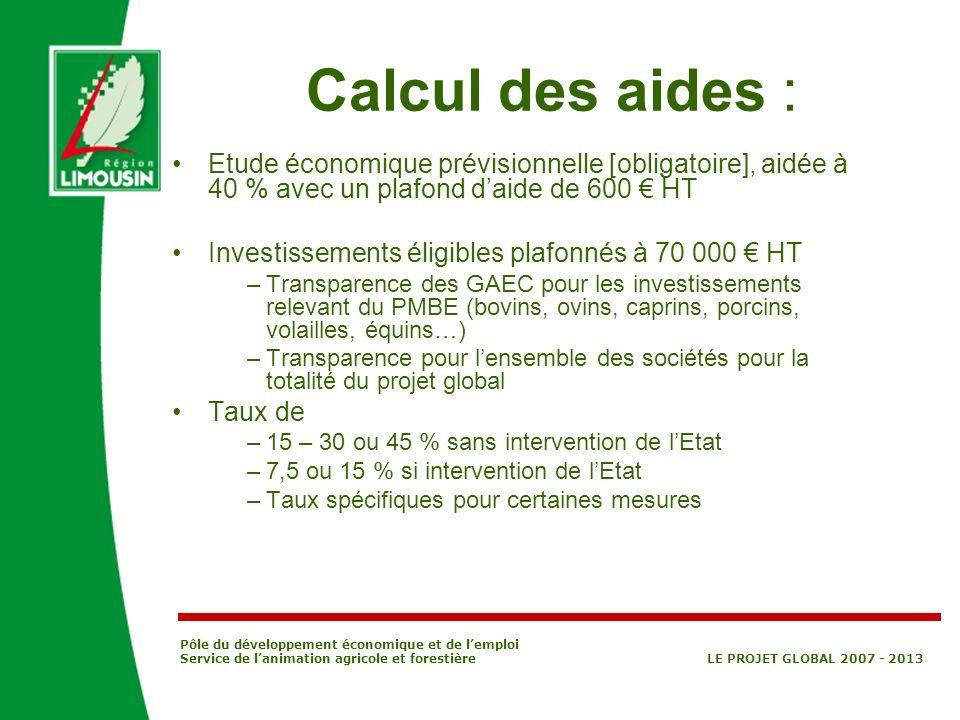 Calcul des aides : Etude économique prévisionnelle [obligatoire], aidée à 40 % avec un plafond d'aide de 600 € HT.
